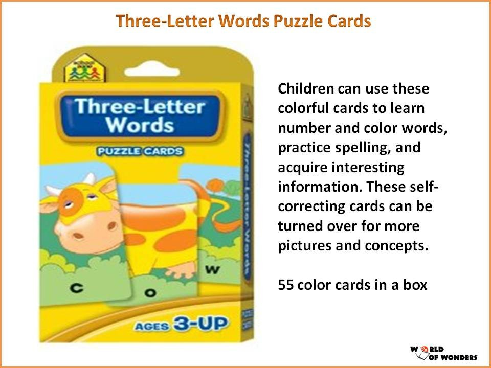 Three Letter Words Puzzle Cards English Wooks