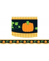 Border Pumpkin Gingham 35 Scalloped