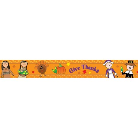 Thanksgiving Stick Kids Border