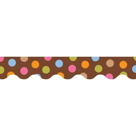 Dots on Chocolate Wavy Border