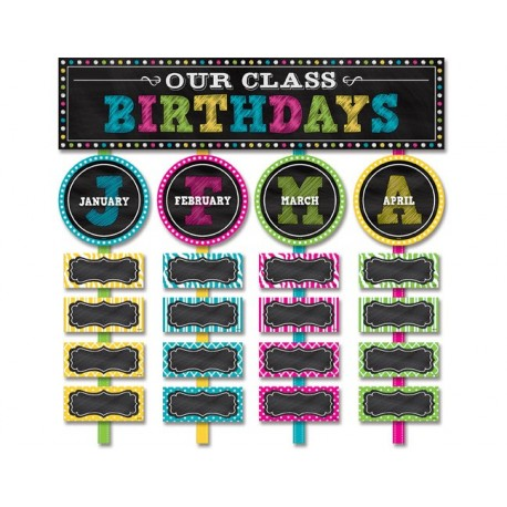Chalkboard Brights Our Class Birthdays Mini Bulletin Board