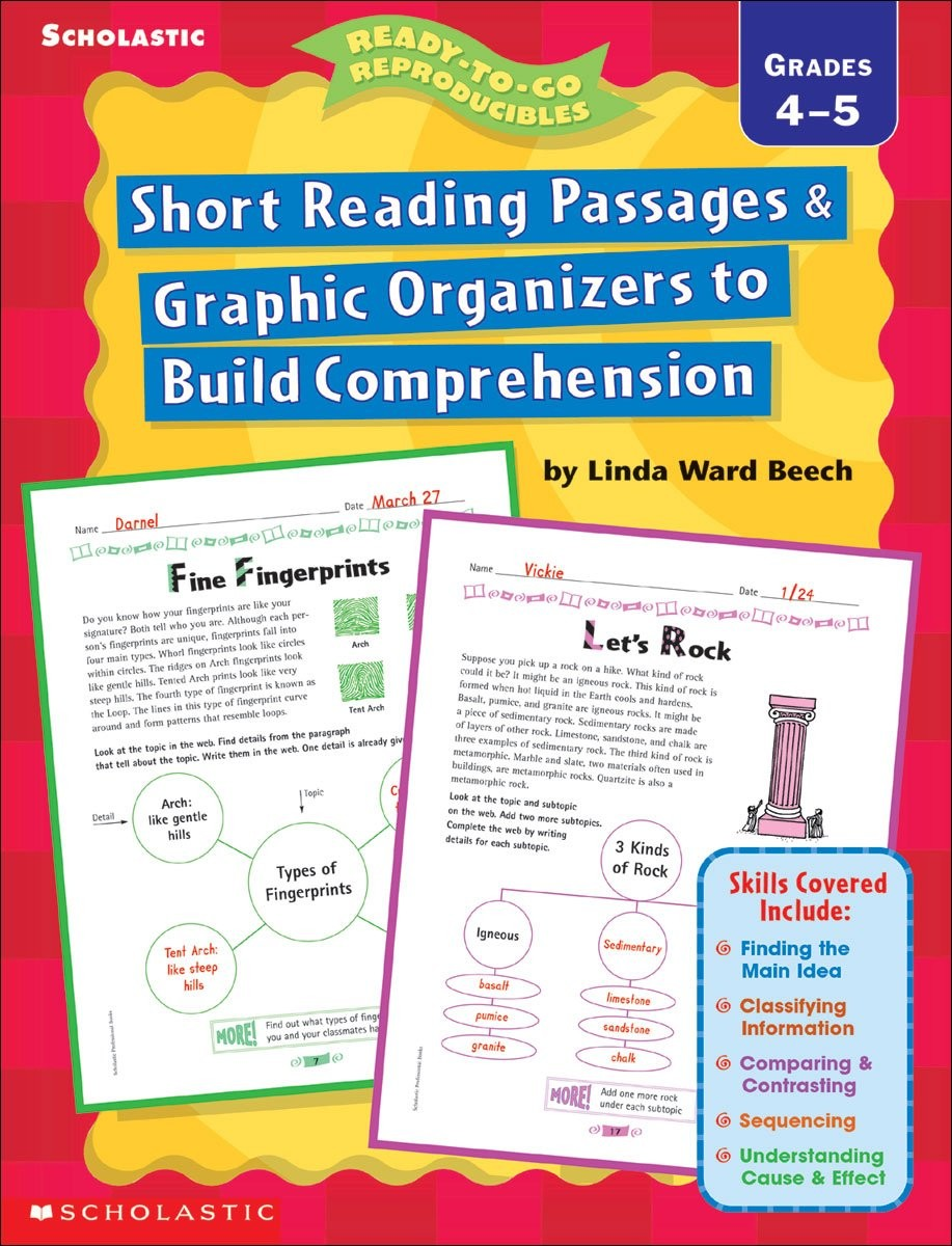 Worksheet Reading Passages That Build Comprehension short reading passages graphic organizers to build comprehension grades 4 5 english wooks