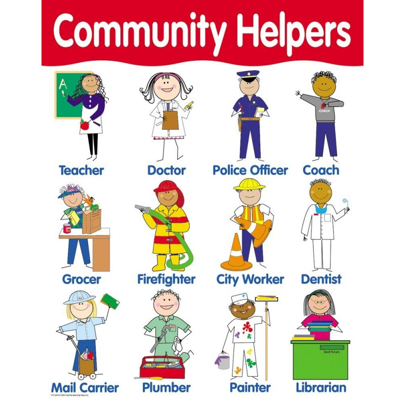5119 Community Helpers Poster on Cleaning Tools For Kindergarten Worksheets