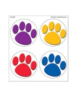 Colorful Paw Prints Wear 'Em Badge TCR4056